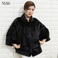 Short Fur Mink Coat Noble Fashion Real Fur Women Pattern Type Black White Gray Genuine 100 % Free Shipping Fast Delivery XF1303