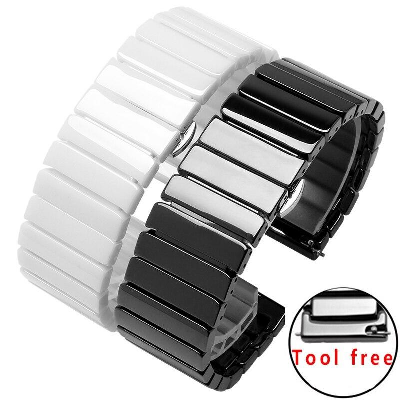 Cross grain ceramics strap 20mm 22mm black white bracelet replacement wristbands for AMAZFIT smart watch