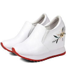 Low Top Sneakers Black White Casual Shoes Women Cow Leather Wedges High Heel Pumps Embroider Flowers Trainers Tennis