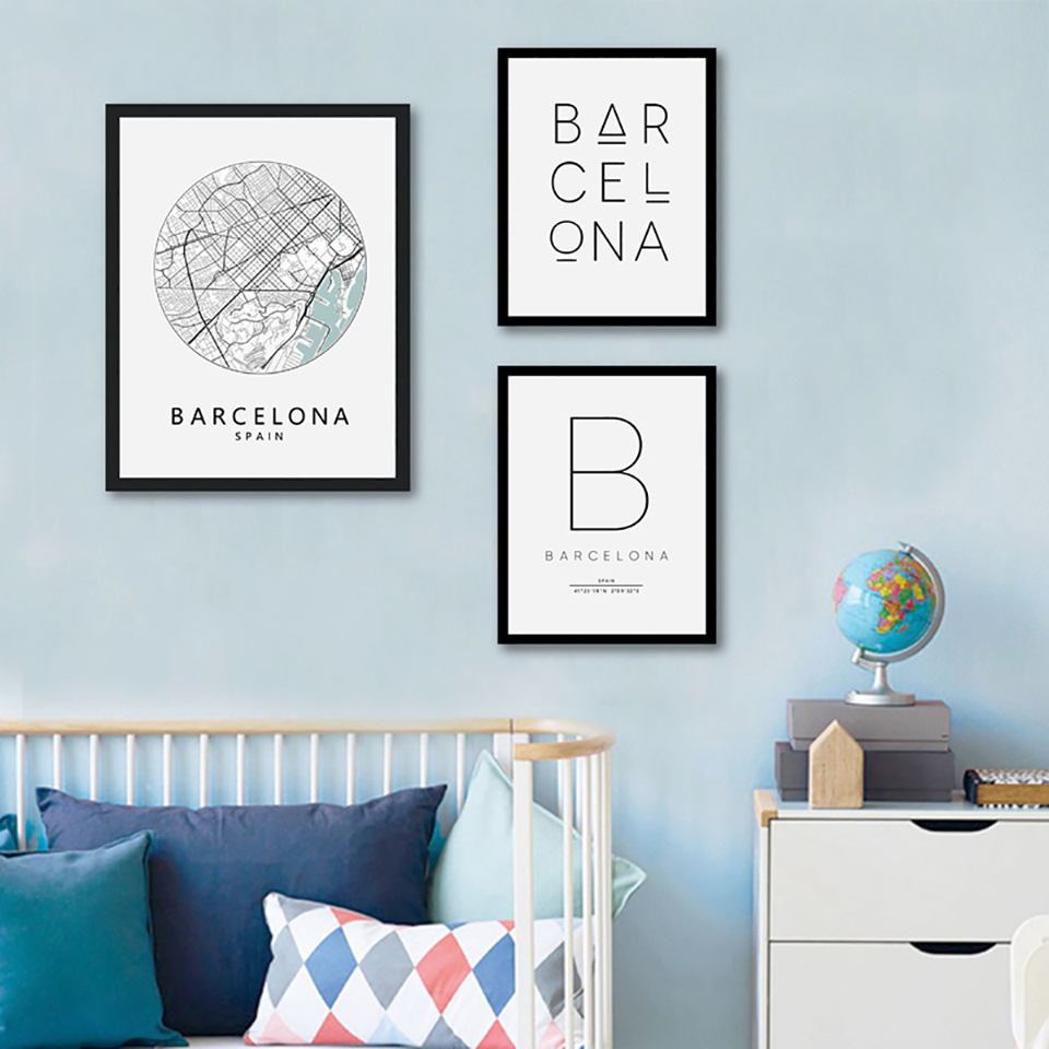 Barcelona-Print-City-Map-Poster-Barcelona-Typography-Modern-Wall-Art-Canvas-Painting-Print-Spanish-Scandi-Nordic