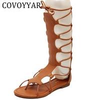 2016 Roman Flat Sandals Boots Women Summer Knee High Lace Up Gladiator Sandals Cut Out Flip