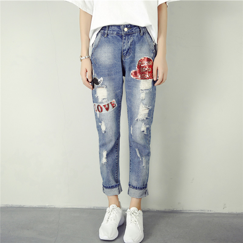 yofeai hole ripped jeans 2017 women pants fashion loose harem pants boyfriend student pants denim ripped jeans voor vrouwen 2017 Fashion Women Jeans Loose Boyfriend Harem Denim Pants Ripped High Wasit Pencil Pants Hole Trousers Pantalon Femme