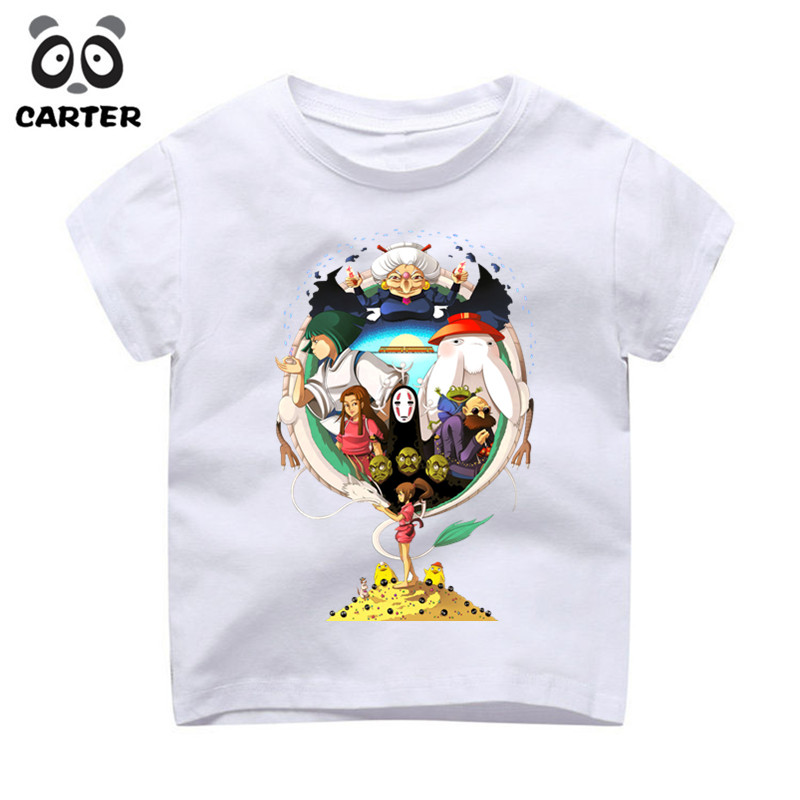 Boy and Gril Japanese Anime Spirited Away Faceless Tshirt Kid's Casual Short Sleeve Tops Tees Children's Funny T-Shirt