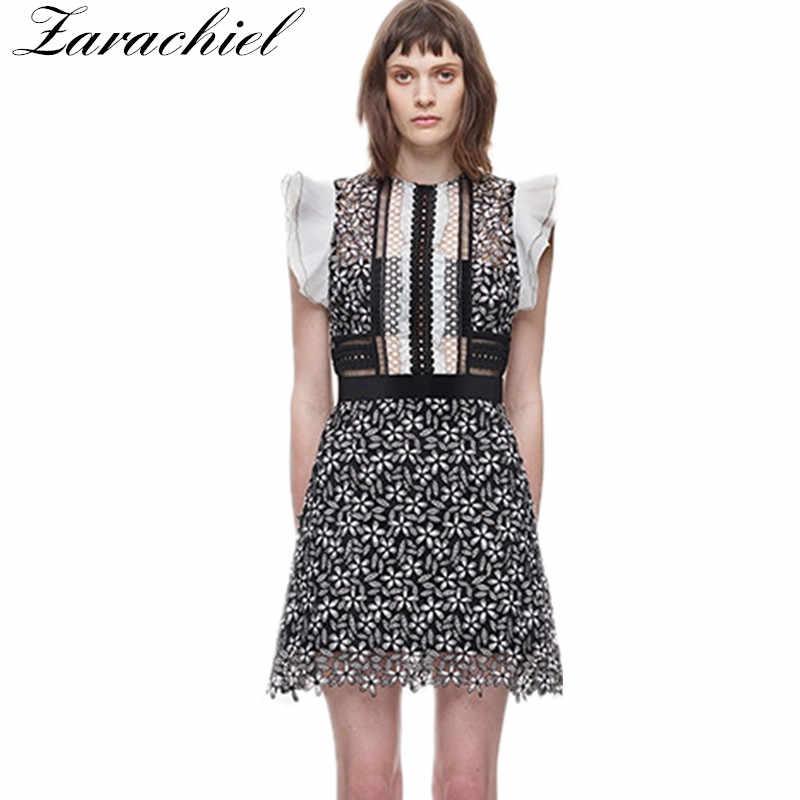 c494d3ff8e25 Zarachiel 2018 Summer Women s Sleeveless Ruffles Sexy Hollow Out Mini Dress  Self Portrait Runway Flower Lace