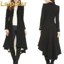 Spring Autumn Women Coat Fashion Black Long Trench Female Dovetail Slim Wool Elegant Winter Blazer Outwears