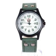 Fashion Men's  Relojes Sport Watches Men Military Leather Band Relogio masculino Quartz Wrist Watch