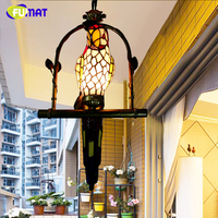 FUMAT Macaw Bird Pendant Light Stained Glass Hanging Lamps For Balcony Aisle Kids Bed Room Novelty