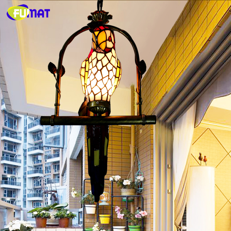 FUMAT Macaw Bird Pendant Light Stained Glass Hanging Lamps For Balcony Aisle Novelty Parrots Kids Lamp Unique LED Pendant Lamps fumat stained glass ceiling lamp european church corridor magnolia etched glass indoor light fixtures for balcony front porch