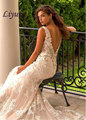 Alluring Tulle V-neck Neckline Sheath Wedding Dresses with Lace Appliques of bridal dress