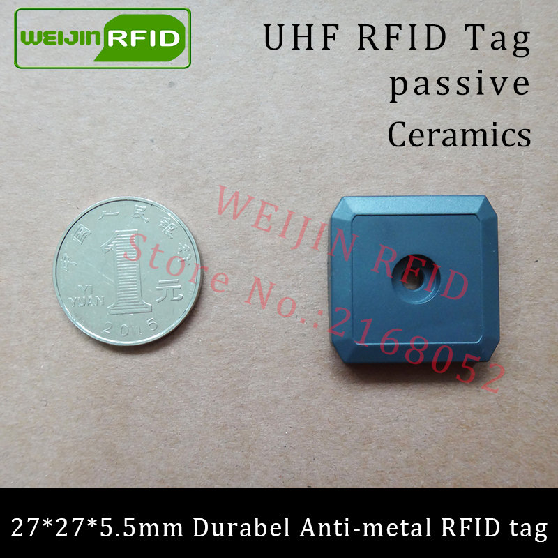 UHF RFID anti-metal tag 915mhz 868mhz Impinj M4QT EPCC1G2 6C 27*27*5.5mm small square durable ABS smart card passive RFID tags high quality programmable uhf rfid tags passive for rubber automobile tires management inventory