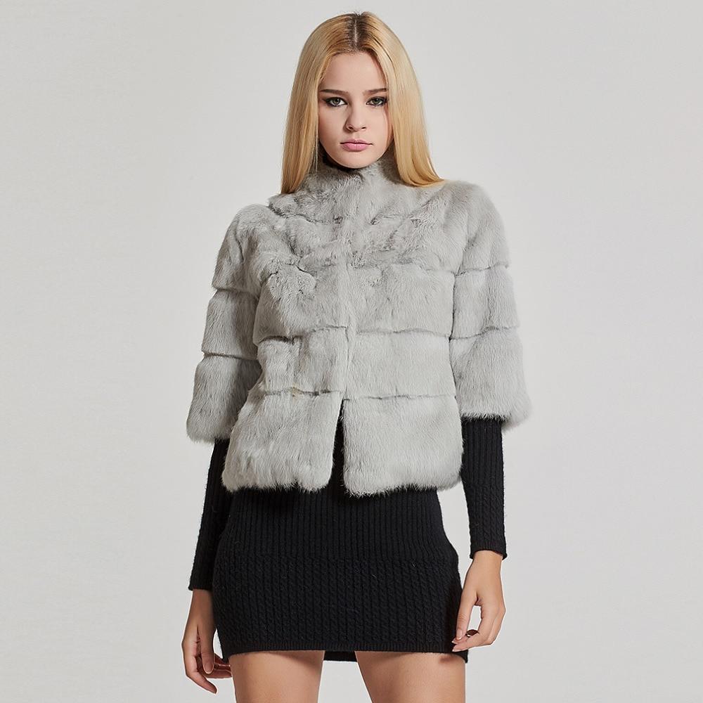 Women s Short Real Rabbit Fur Coat Winter Fashion Warm Jacket Half Sleeve Turn down Stand