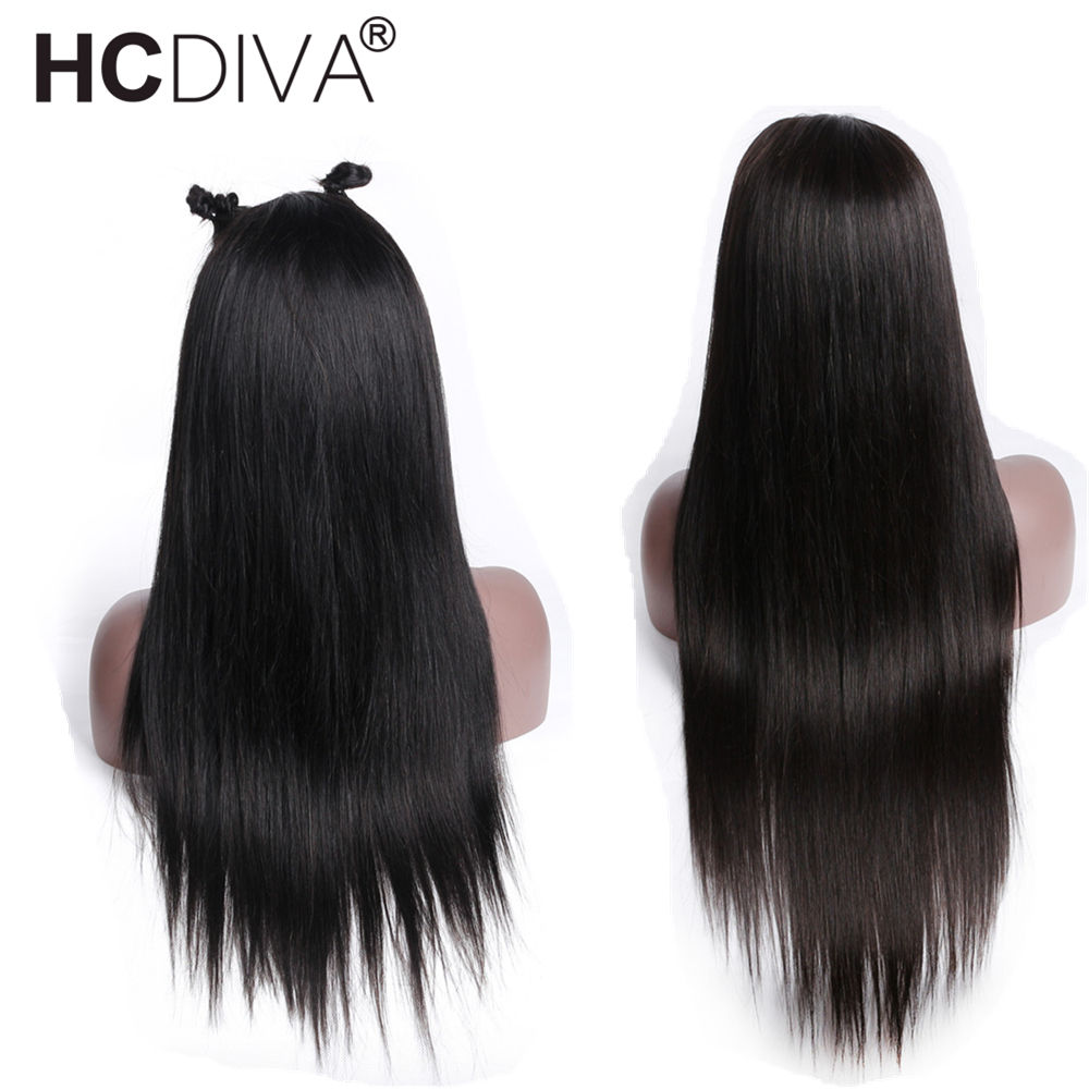 Glueless Full Lace Wigs Pre Plucked With Baby Hair Peruvian Straight Remy Human Hair Lace Wigs Long Hair Full Lace Wigs HCDIVA