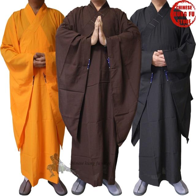 056d204cc Top Quality Unisex Buddhist Monk Robe Zen Masters Haiqing Gown Shaolin Kung  fu Suit Meditation Uniform