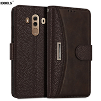 IDOOLS Case For Huawei Mate 10 Pro Mate10 Flip Cover PU Leather TPU Back Full Protect