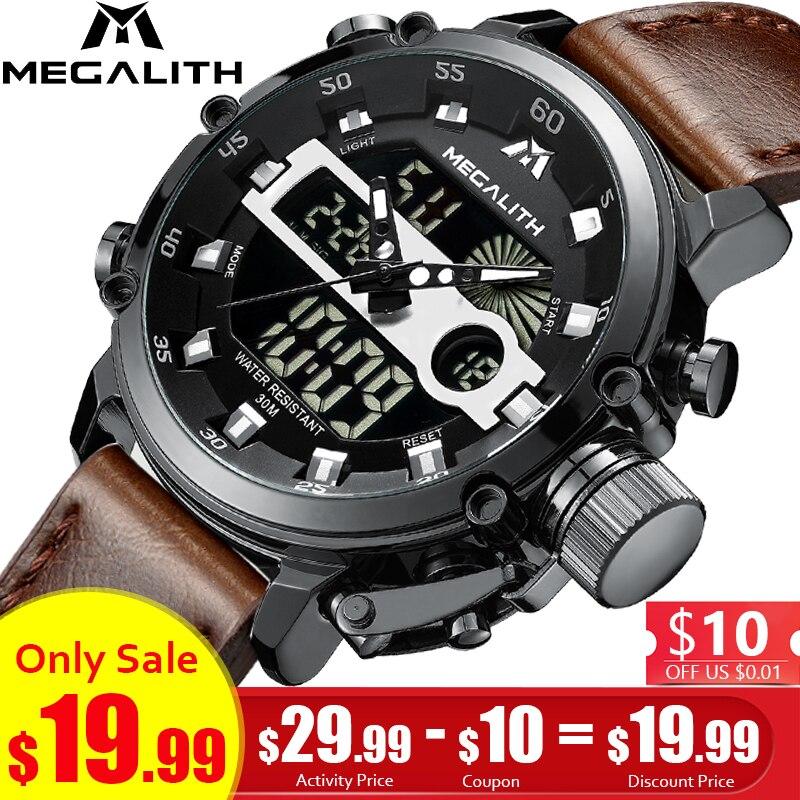 MÉGALITHE Mode Hommes de led Sport montres à quartz Hommes Étanche Date Militaire Multifonction montres-bracelets Hommes Horloge Horloges Mannen