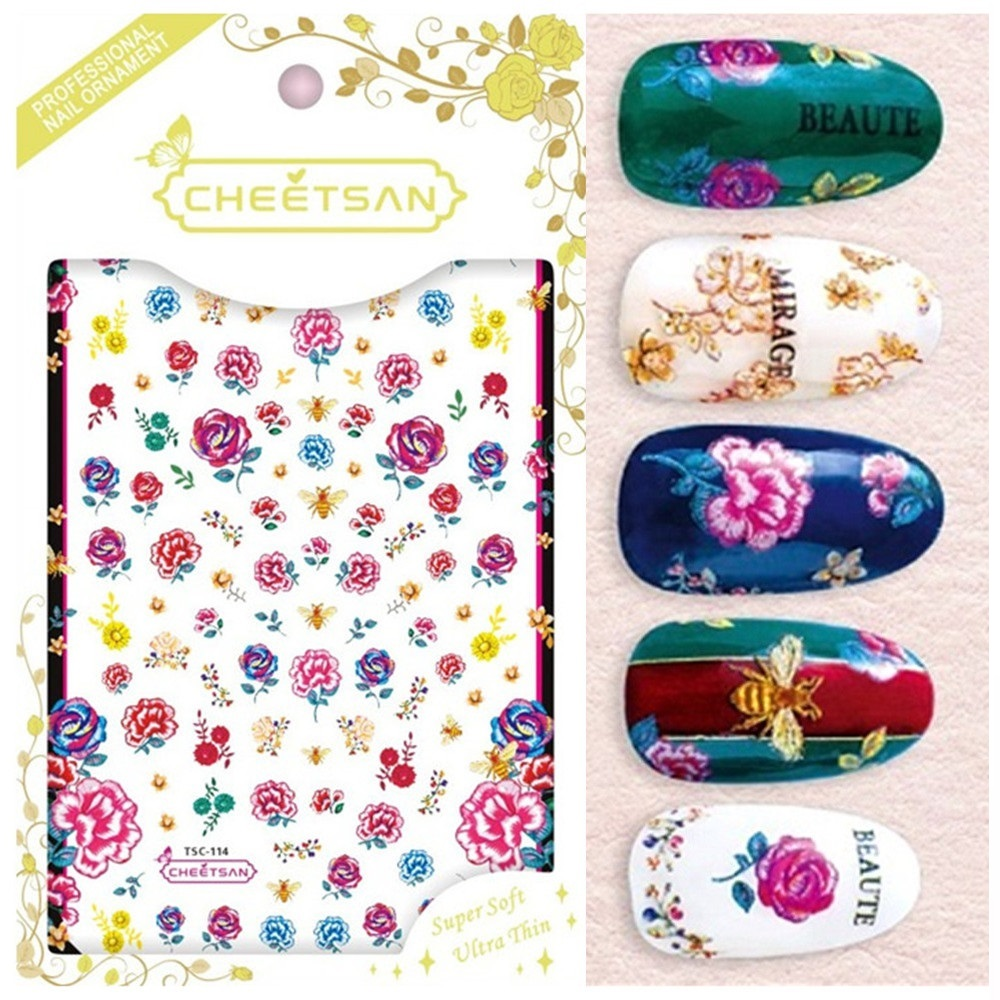 US $1 16 35% OFF TSC 114 Cheetsan brand Embroidery flowers 2018 newest 3d  nail art stickers nail decals export quality gold sticker-in Stickers &