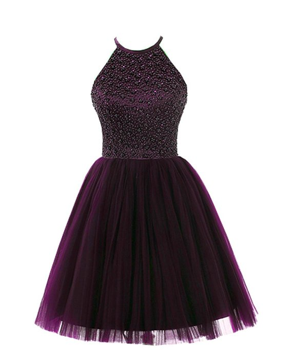 Hot Sale Cheap A line Open Back Tulle Beaded Grape Dark ...