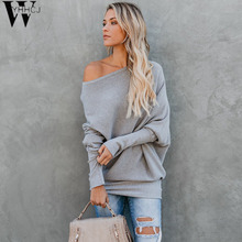 WYHHCJ Women Casual Long Sleeve Knitted Sweater Pullover Loose Jumper Tops Knitwear Winter Color One Shoulder V-Neck Sweaters