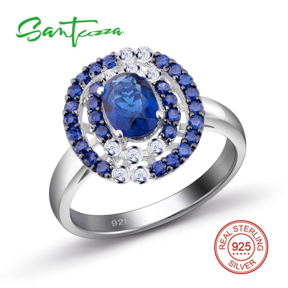 Silver Ring for Women Blue Stone Cubic Zirconia CZ Stone Women Ring Pure 925 Sterling Silver