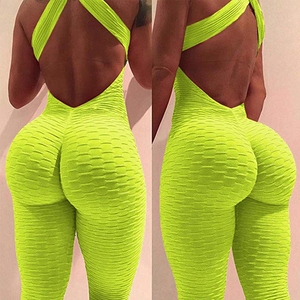 2020 Sexy Women's Tracksuit Yoga Pants High Waist Gym Play Suit Push up Slim Sport Backless Top Running Sportswear Soft Jumpsuit(China)