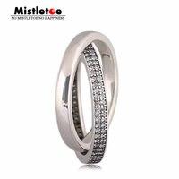 Mistel Echtes 925 Sterling Silber Versprechen Ring, klar CZ Kompatibel mit Europäischen Schmuck