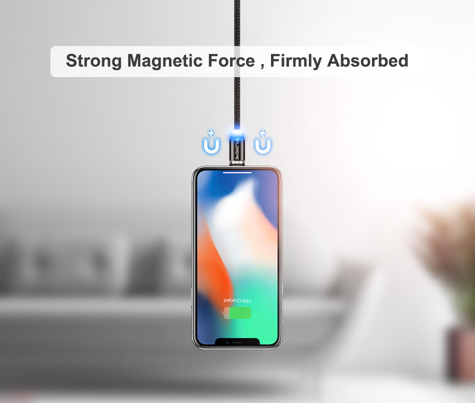 FLOVEME 1M Magnetic Charge Cable , Micro USB Cable For iPhone XR XS Max X Magnet Charger USB Type C Cable LED Charging Wire Cord 8