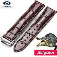 Высокое качество роскошные пояса из натуральной кожи без пряжки аллигатора группа наручные часы ремешок