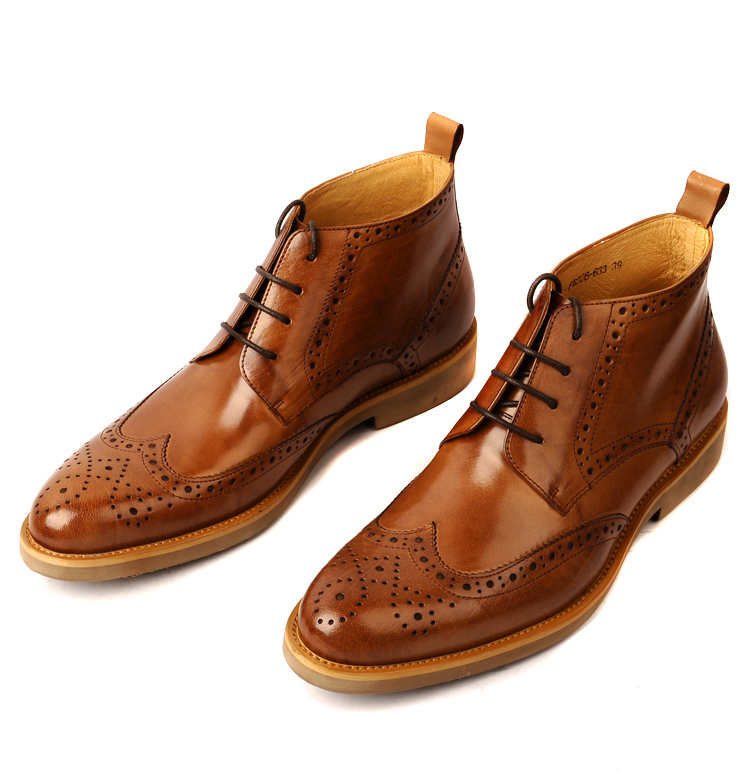 Fashion black / brown oxfords shoes mens boots genuine leather ...