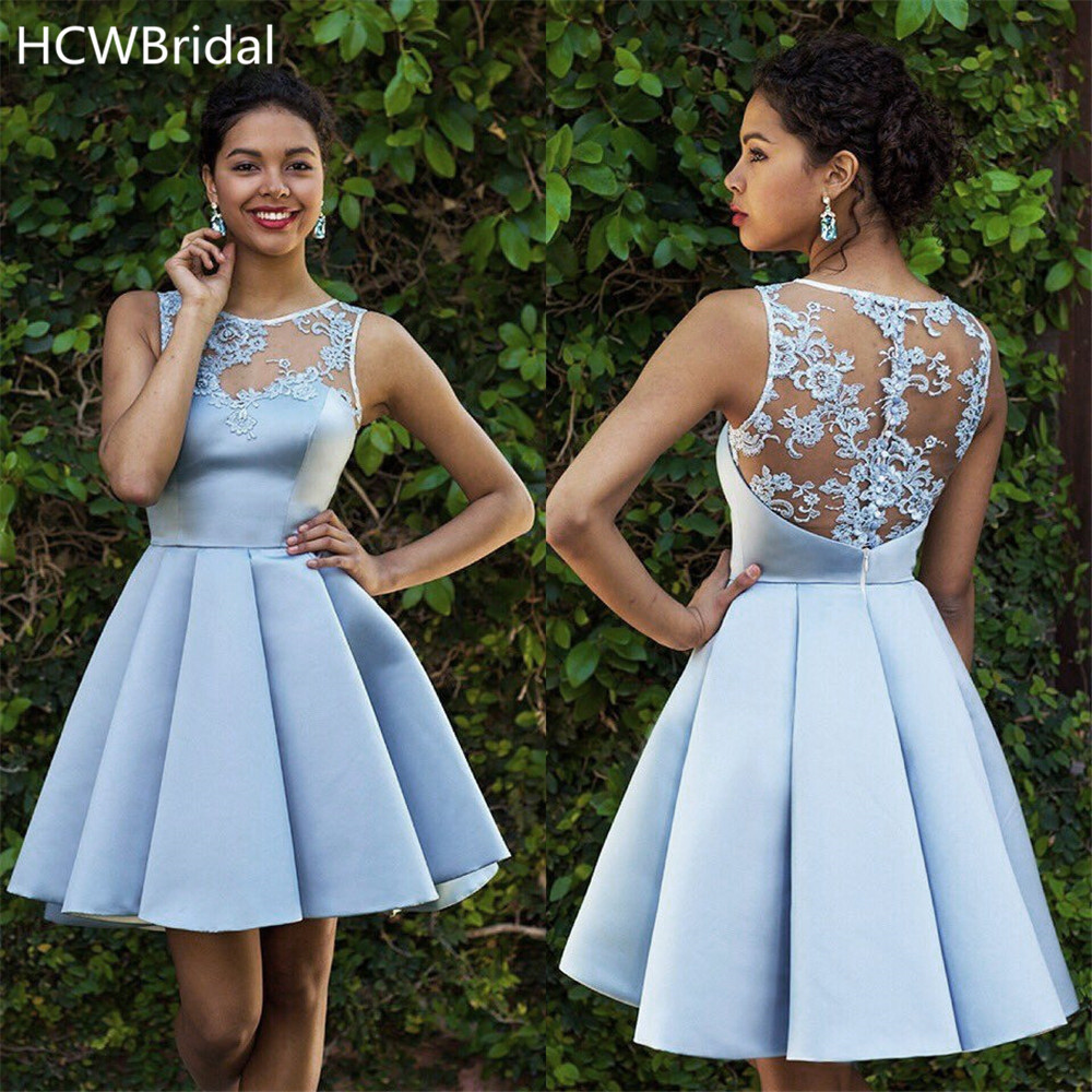 High Quality Mint Blue Satin Short Prom Dresses Lace Appliques A Line Knee Length Charming Wedding Party Gowns Cheap Women Dress