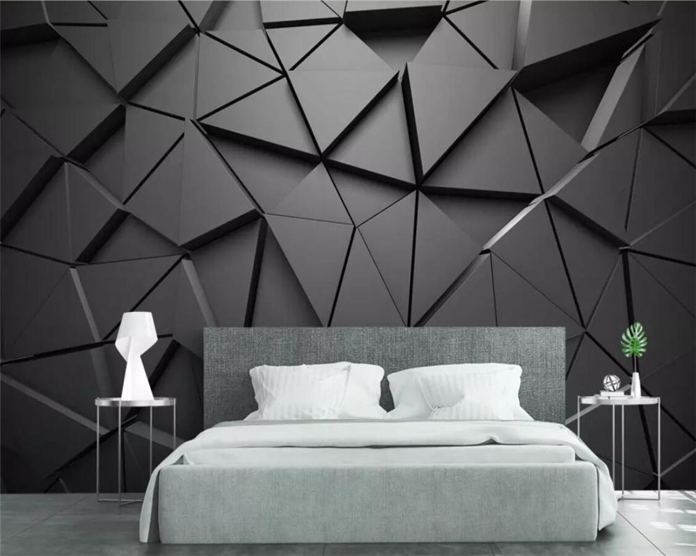 Beibehang Custom Photo Wallpaper Geometric Abstract Gray Triangle Mural Living Room Bedroom Tv Background Wall