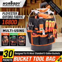 HORUSDY 5 Gallon Bucket Organizer Tote Bag Toolkit Bag Garden Tool Kits 30 Storage Pocket Tool Organizer Waist Packs Tool Bag