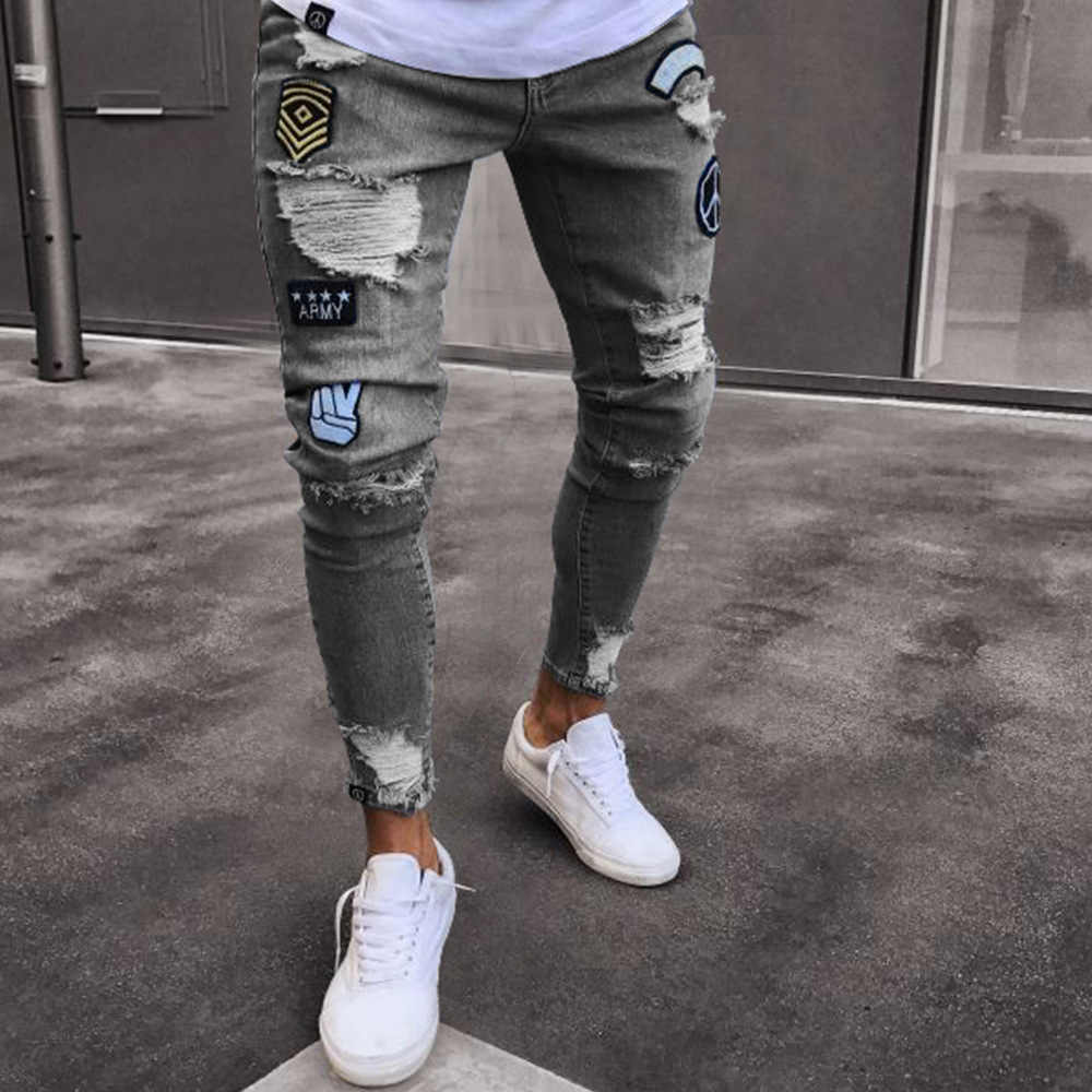 8b5e117e08618 ... PADEGAO/Новые мужские хип-хоп Джеггинсы отверстие ковбойские пульсация  Дизайн slim fit джинсы high ...