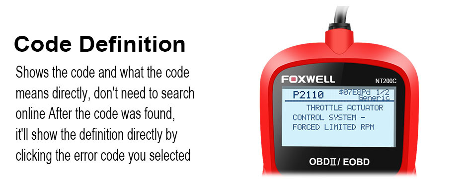 FOXWELL NT200 OBD2 Car Auto Diagnostic Scan Tool Multi-languages OBDII EOBD  Engine Fault Code Reader Scanner Automotive