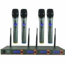 4 Way 4 Каналы 4 КПК для караоке КТВ вечерние динамический микрофон церкви микрофон УКВ Беспроводной микрофон