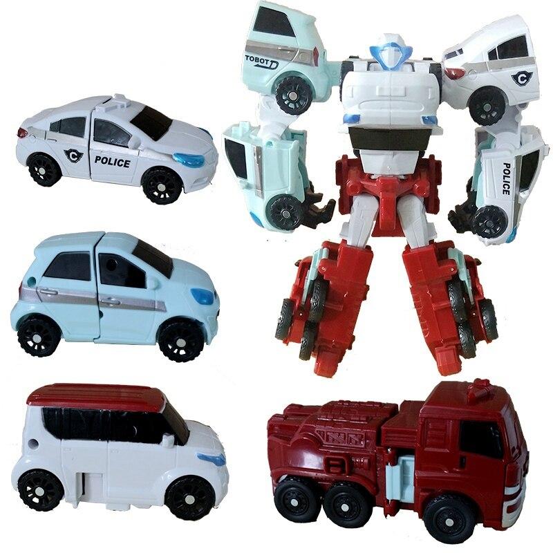 Tobot 4 In 1 Transformation Robot Toys Anime Tobot 4 Cars Merge Deformation Big White Robot