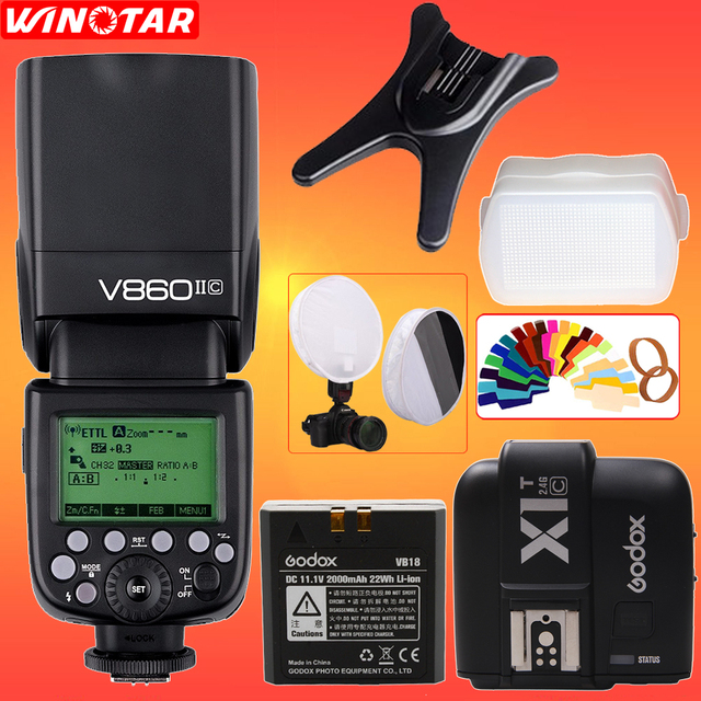 Godox Ving V860II V860II-C/N/SO/F TTL HSS 1/8000 Speedlite Flash + X1T Transmitter for Canon Nikon Sony Olympus Panasonic Fuji
