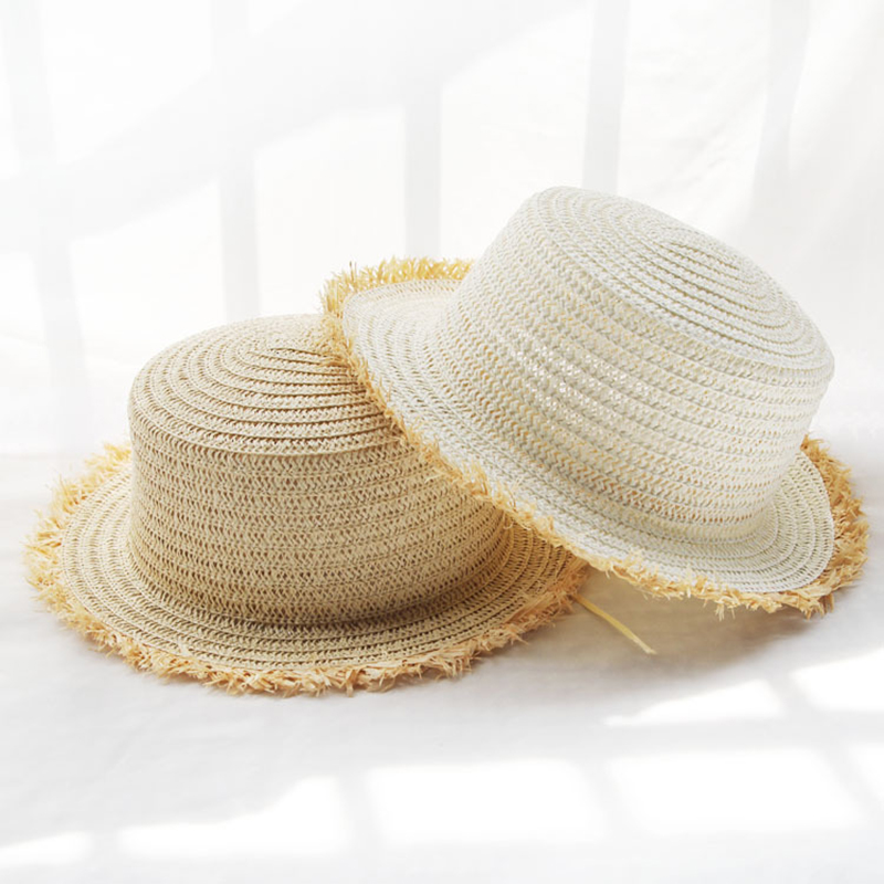 2019 fashion Solid color sun hat female summer folding sunscreen youth outdoor travel straw hat visor flat top beach hat in Women 39 s Sun Hats from Apparel Accessories