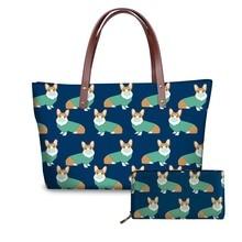 NOISYDESIGNS Womens Handbags Bags for Women 2018 Cute Corgi Printing Wallets and Ladies Party Leather Luxury Handbag
