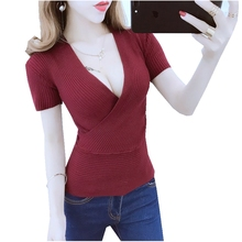 Fashion summer women solid color Sexy hollow deep V-neck criss-Cross straps Short-sleeve pullovers casual knit tops