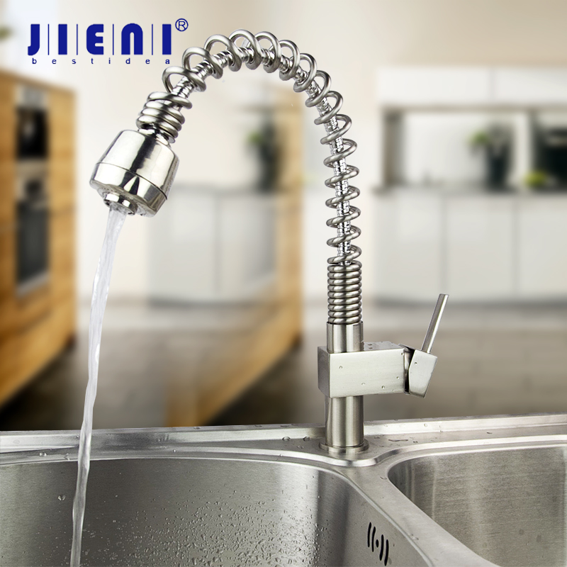 JIENI Nickel Brush Chrome Solid Brass Spring 2 Functions Spray Swivel Water Tap Kitchen Rotated Pull Out Kitchen Faucet Mixer ydl f 0538 polished nickel finish solid brass spring pull out kitchen faucet antique silvery