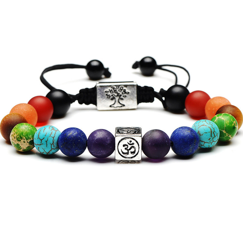DIEZI Christmas Gift 7 Chakra Tree Of Life Charm Bracelets Multicolor Beads Stones Weave Rope Bracelet Women Men Yoga Bracelets