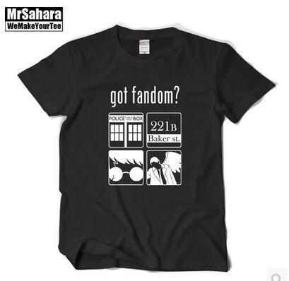 O novo Dr. Harry potter Detetive sherlock Tem o fandom Com mangas curtas de Puro algodão gola Redonda T-shirt Dos Homens e mulheres
