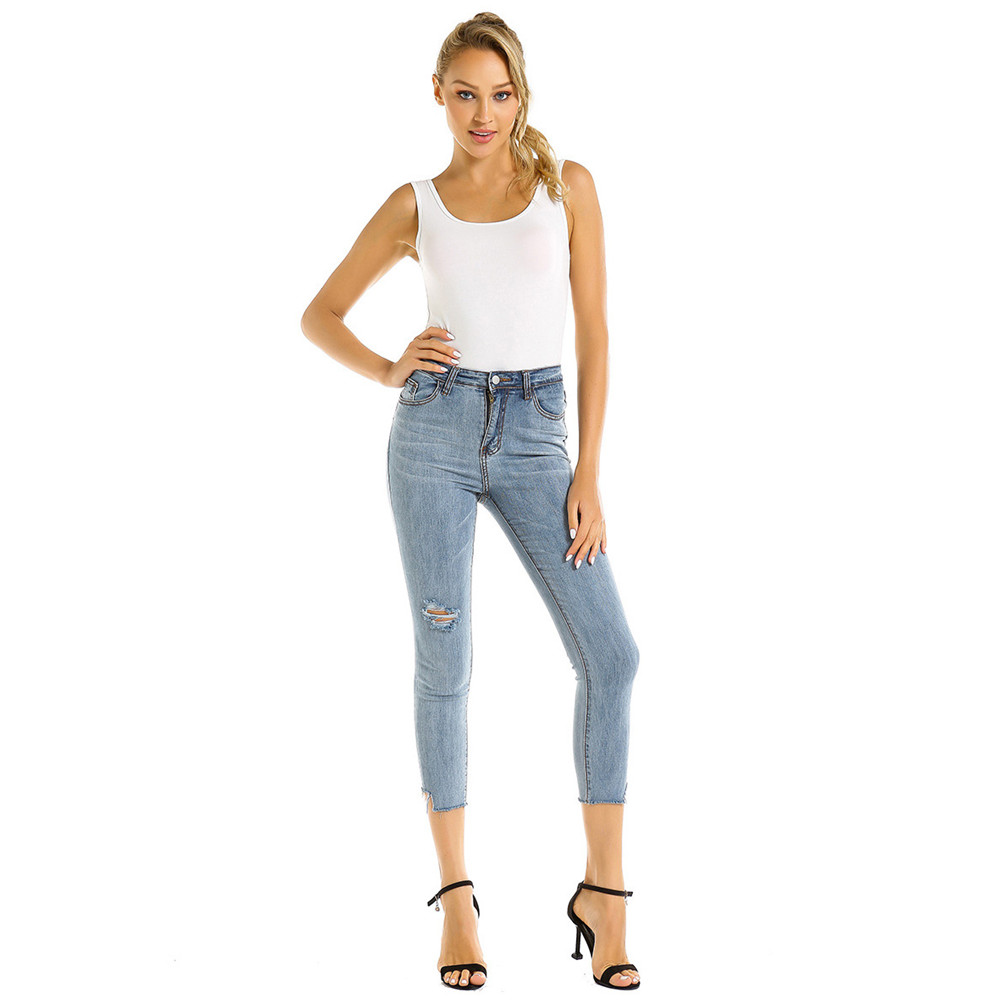 Women Juniors Stretch Luscious Curvy Ripped Distressed Skinny Jeans Women's Mid Rise Cut Off Hem Ankle Washed Denim Pants Capris image
