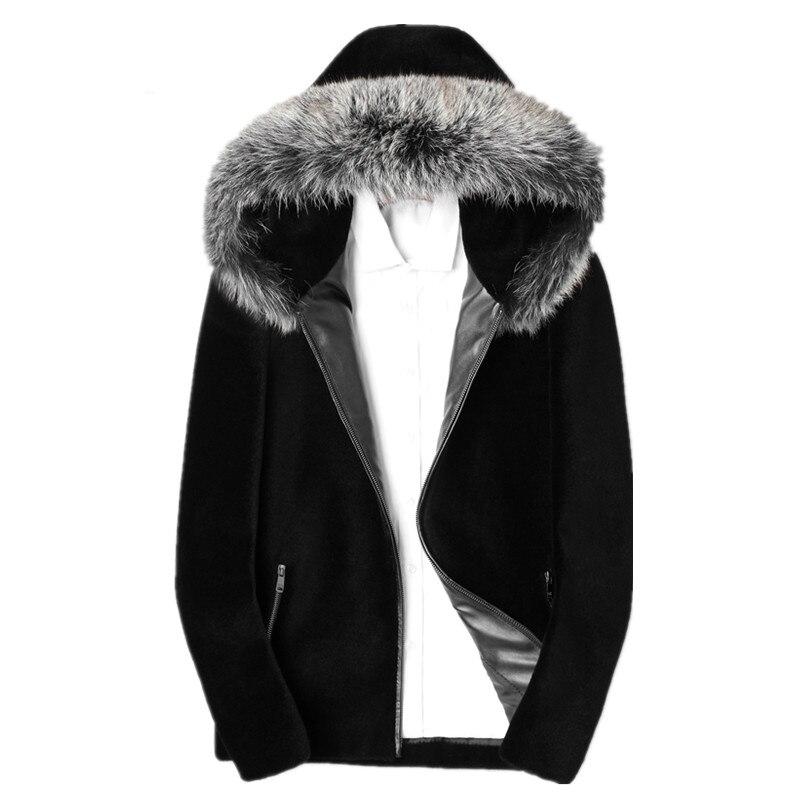Réel Mouton Mouton Manteau De Fourrure D'hiver Veste Hommes Réel Fox Col De Fourrure Chaud Outwear Hommes 100% Laine Manteaux Chaqueta Hombre MY1607