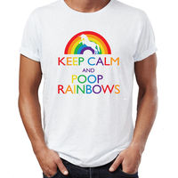 FL AEVVE Keep Calm Poop Rainbows Funny Unicorn Womens Ladies T Shirt Christmas Gift Men S