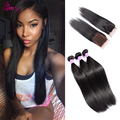 10A Grade Malaysian Straight Hair With Closure #1B Blonde Ombre Hair 3 Bundles With Closure Mocha Virgin Hair Weave With Closure