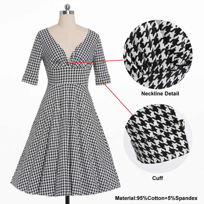 6bd5b766751 ... Tonval Houndstooth Vintage 50s Half Sleeve Plaid Dresses Pinup Hepburn Women  Sexy V Neck Party Retro ...