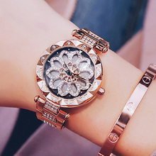 2018 Luxury Brand lady Crystal Watch Women Dress Watch Fashion Rose Gold skeleton Watches Female Stainless Steel Wristwatches все цены