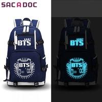BTS Idol School Bag For Teenage Girls Boys Luminous Backpacks Women Men Travel Bags JIMIN SUGA V Fans Laptop Backpack