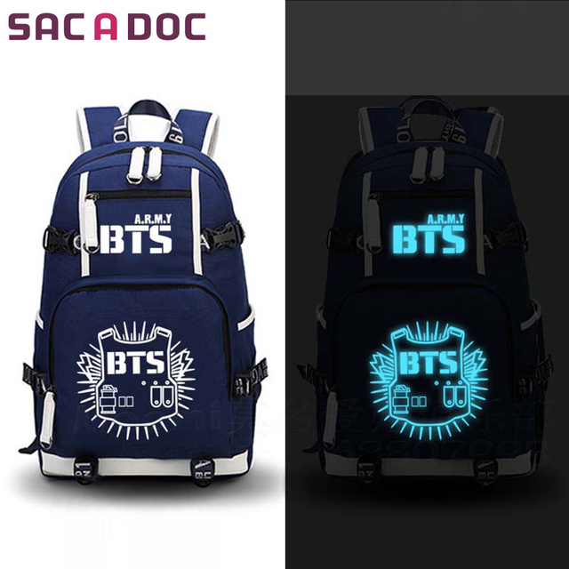 8fbc65c66b5 BTS ídolo bolsa de la Escuela para niñas adolescentes niños luminosa  mochilas para Mujeres Hombres bolsos